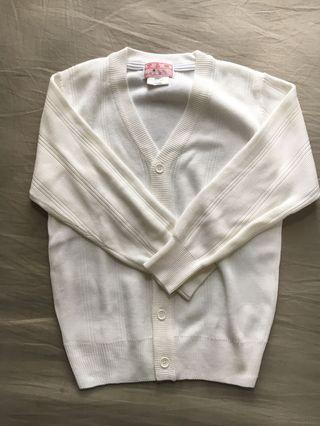 返學白色長袖缐衫