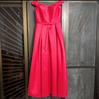 紅色 一字肩 晚裝裙 敬酒裙