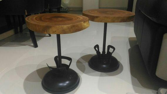 Matching woodslab side tables