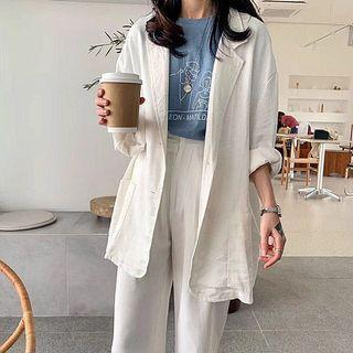 韓國白色棉麻西裝外套