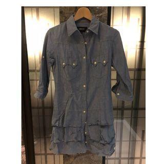🚚 SAL2【二手 9成新】日本購入 專櫃 COMME CA ISM 翻袖 甜美 牛仔佯裝 洋裝 M號
