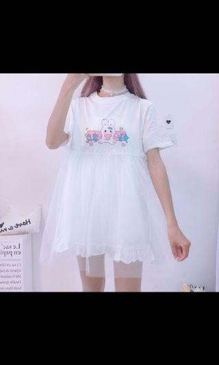 Brand New Kawaii Lolita Bunny Mesh T-shirt Dress