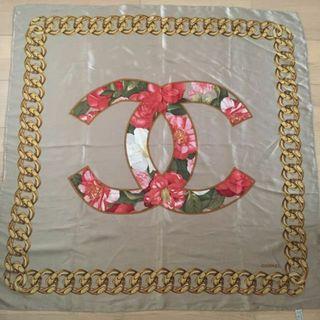 CHANEL Scarf Silk 100% Camellia Floral CC Logo