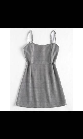 🚚 Grey Plaid Mini Cami Dress