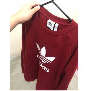 Adidas Crewneck Sweatshirt Burgundy Trefoil Size M