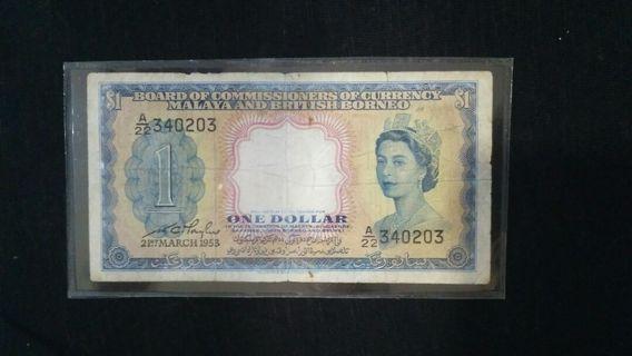 One Dollar Borneo Malaya Currency