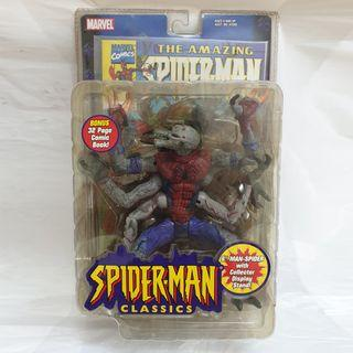 "RARE SEALED. Spider-man Classics 2001 Man-spider 6"" Action Figure with Display Stand & Spiderman Comic"