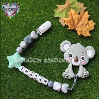 Handmade Pacifier Clip with customised name letter beads + Grey Koala Teether