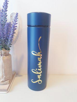 Customised personalised calligraphy name thermal metal vacuum bottle Father's day