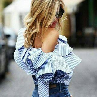 Elegant Off Shoulder Long Sleeve Blue Stripe Top