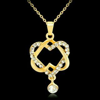18K Gold Double Crystal Heart Cross Pendant Necklace #08