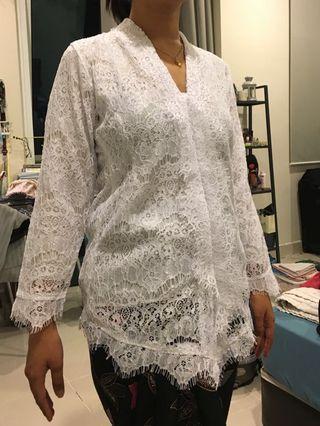White Lace Kebaya Top