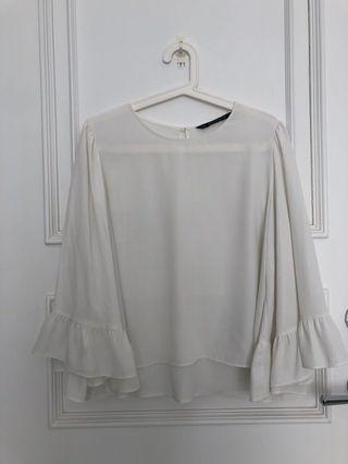Zara white top with flared sleeve