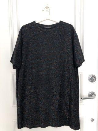 Zara metallic black tshirt dress