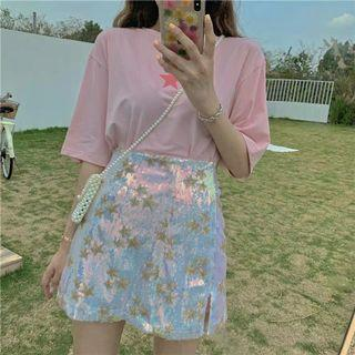 [PO] Pink star top and holographic star skirt set