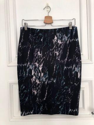 Zara scuba black marble skirt