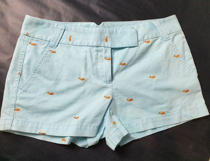 J.crew chino short baby blue with orange whale print