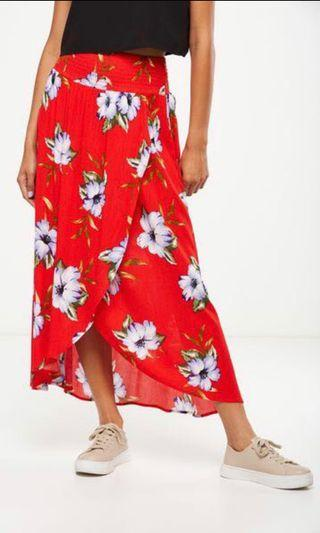 CO Red Floral Maxi Skirt