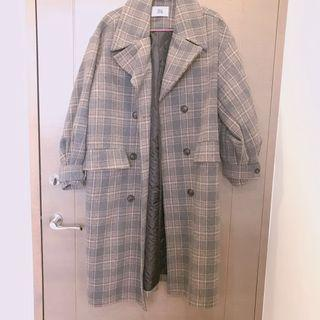 米籃格子文青毛呢鋪棉大衣外套