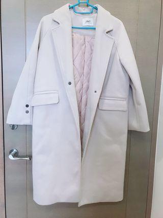 奶油白毛呢鋪棉大衣外套