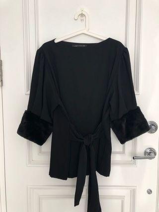 Zara black top with fur sleeve