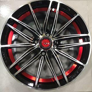 """15"""" rims with red detail 4x100 PCD"""