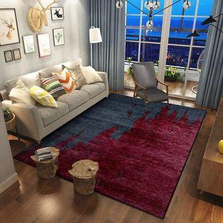 Modern deep red n blue anti slippery carpet