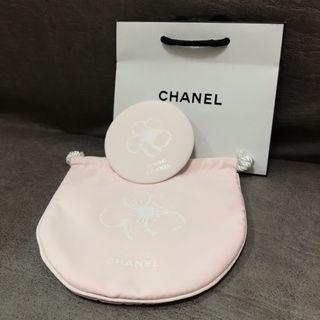 Chanel 化妝袋 連鏡 pink pouch & mirror set