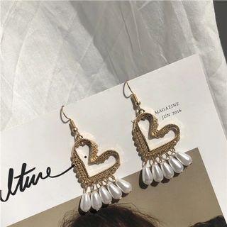 🚚 全新復古愛心珍珠耳環