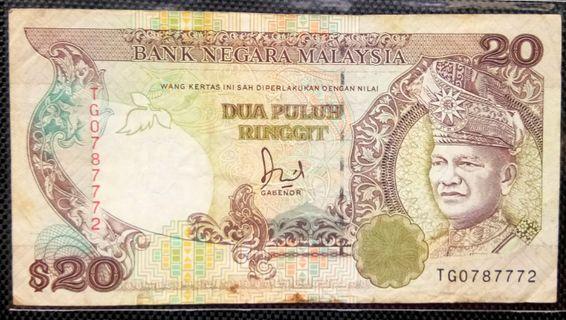 TQ0787772 RM20 Old Banknote Tan Sri Dato' Jaffar bin Hussein Gabenor ke 4, 9 Tahun Jun 1985 Mei 1994 Wang Kertas Lama Dua Puluh 20 Ringgit