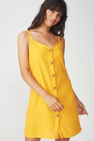 Cotton On Woven Margot Button Down Mustard Slip Dress