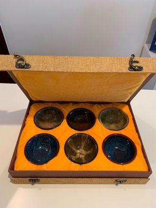 Ceramic Porcelain handmade tea cup chinese, 6 pcs bowls gift box set