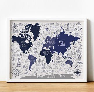 Educational Poster - World Map - A3 Size