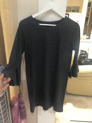 Grey trumpet sleeve dress