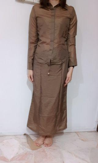 Southaven working cum traditional golden brownish blouse and skirt