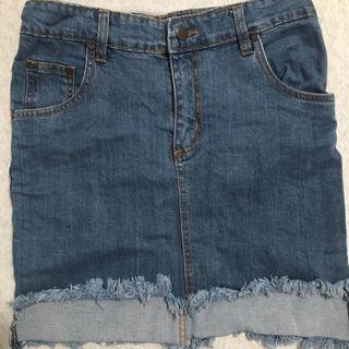 Denim Skirt with Frayed Hems
