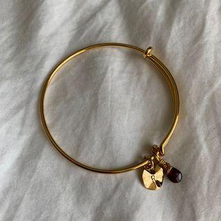 Gold-plated Bangle with Initial & Gemstone