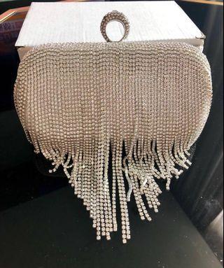 🚚 BN Crystal Tassels Silver Clutch Bag