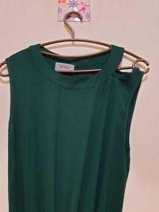 墨綠長版連身洋裝