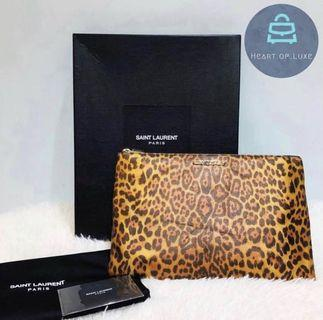正品 YSL Saint Laurent Clutch Pouch 豹紋