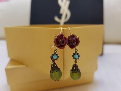 西班牙砝瑯綠寶典雅耳環