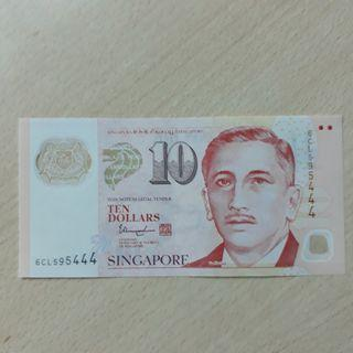 "NOTESG. 6CL595444 - Singapore Portrait Series $10 Currency Note with numbers ending ""444""."