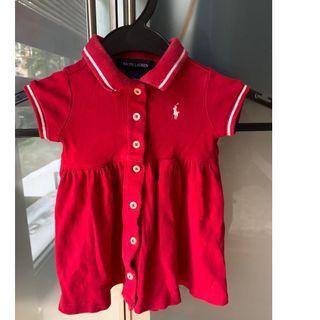 Authentic Ralph Lauren Red Polo Dress Logo 6m 9m