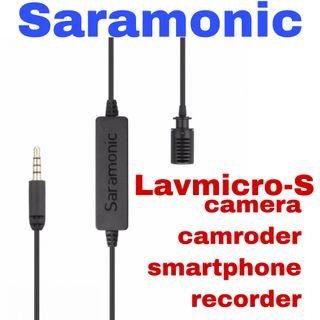 Saramonic lavmicro-s stereo lavalier microphone for camera ,camroder ,smartphone and recorder