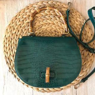 Green Croc Bamboo bag (Forever 21)