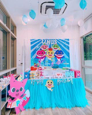 🚚 setup birthday party them baby shark