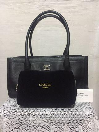 Authentic Chanel Petite Cerf Tote in SHW; with free cosmetics pouch