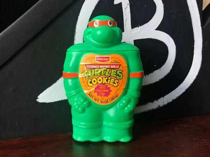 🚚 1990 Vintage TURTLES COOKIES 忍者龜 Ninja Turtles 塑料存錢筒 置物罐 公仔