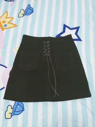 🚚 Dark Green Shoelace Skirt