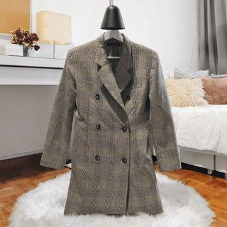 Double Breasted Check Long Coat
